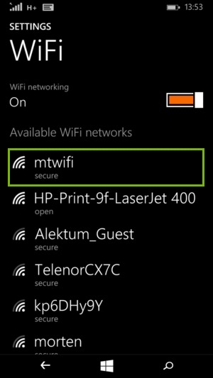 Windows phone Wi-Fi menu displaying a list of available wireless networks.