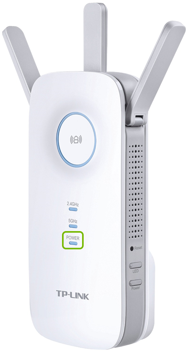 Power light highlighted on front of TP-Link range extender.