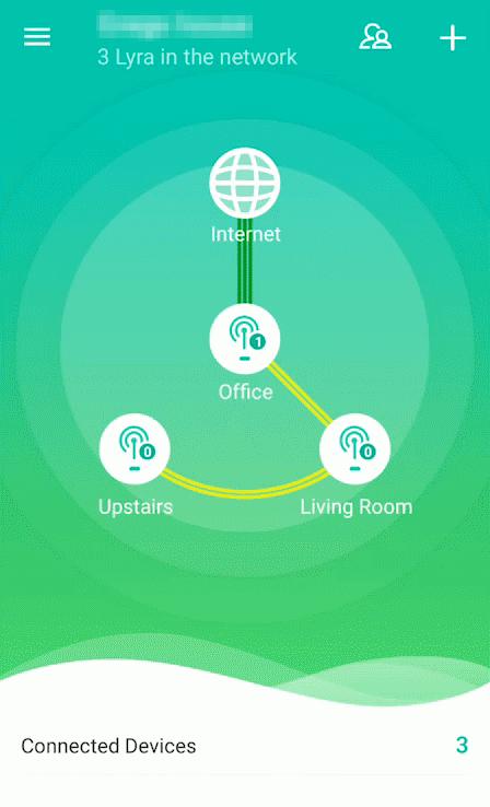 Lyra network showing in ASUS Lyra app.