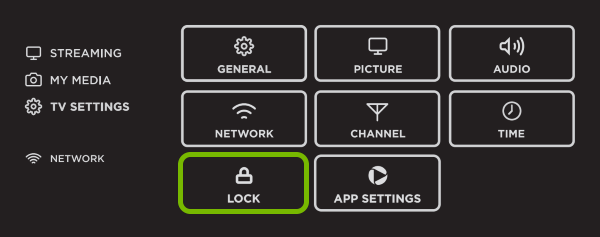 Lock option highlighted in Smart TV menu.