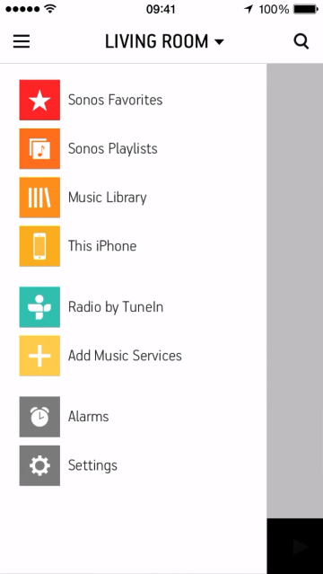 Menu in Sonos Controller for mobile devices