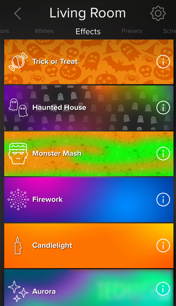 Effects tab showing in ilumi app.