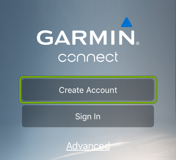 Create Account button highlighted in Garmin Connect app.