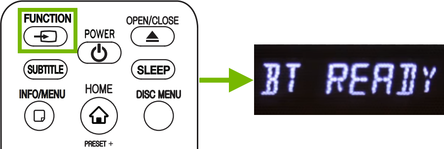 Function button highlighted on remote control and BT Ready message showing in units display.