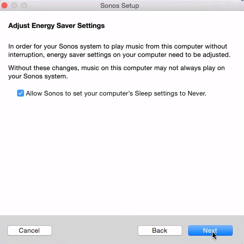Energy Saver Settings adjusment in Sonos Setup on Mac