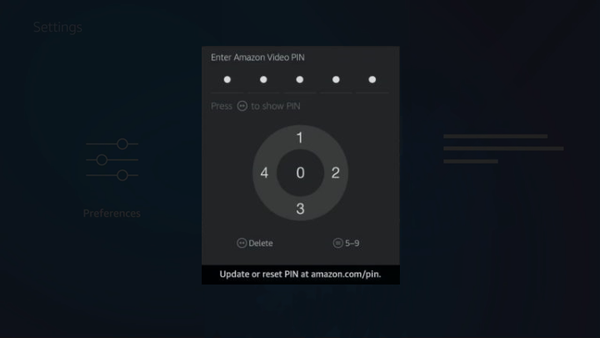 PIN entry screen for Fire TV parental controls.