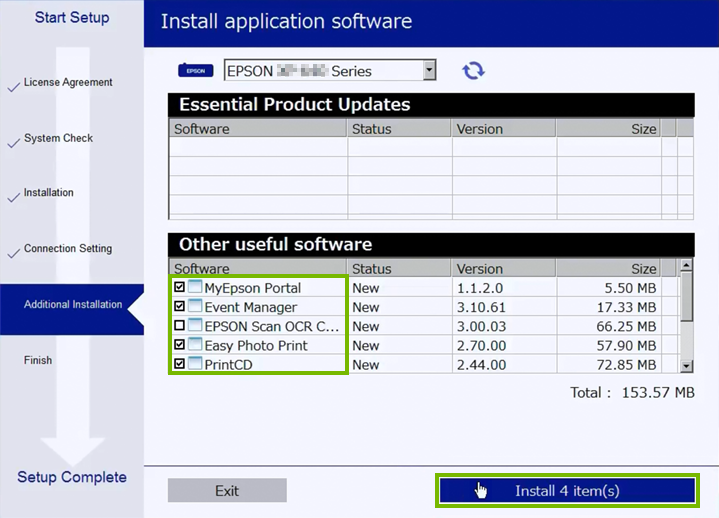 Additional software setup selection screen.