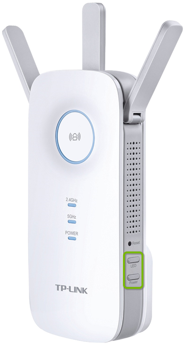 Power and LED buttons highlighted on side of TP-Link range extender.