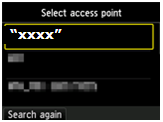 Select Access Point with example network selected