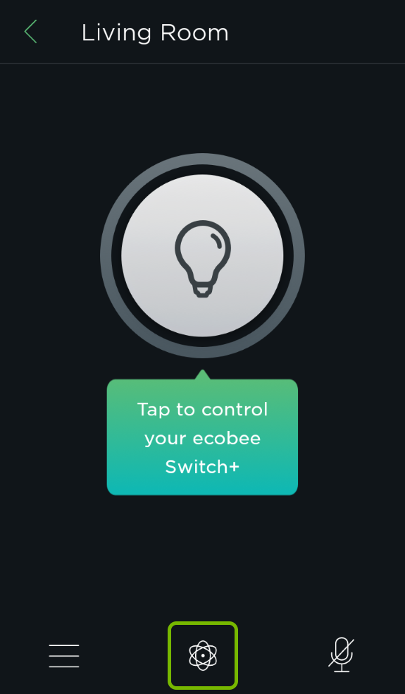 Smart Features symbol highlighted in ecobee app.