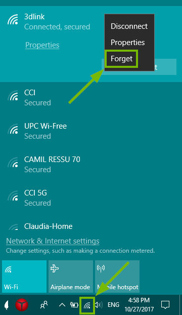 Wi-Fi menu on Windows 10 with steps highlighted to forget network.