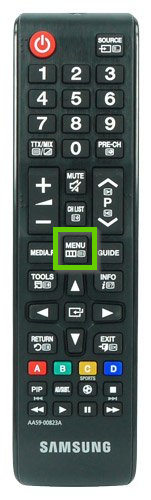 Samsung remote showing menu highlighted