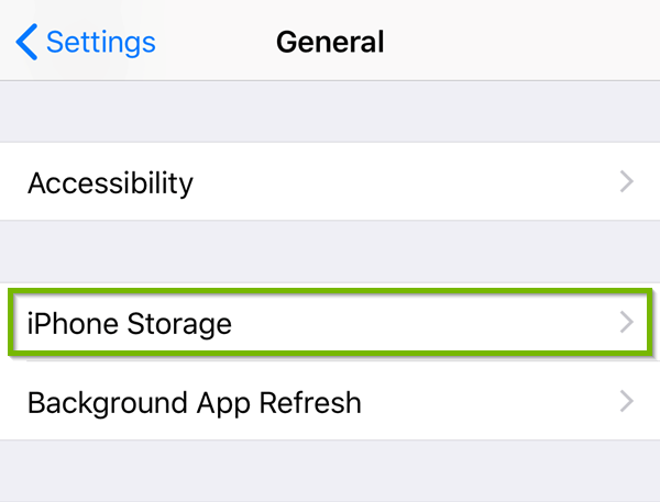 General Settings with Storage highlighted.