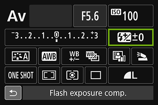 Flash Exposure Compensation option highlighted in camera settings.