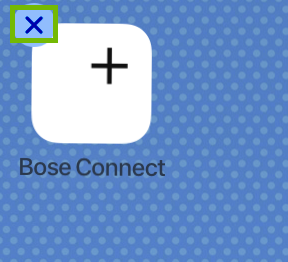 Bose Connect icon with the delete symbol highlighted.