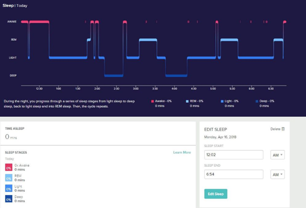 Fitbit online dashboard showing sleep