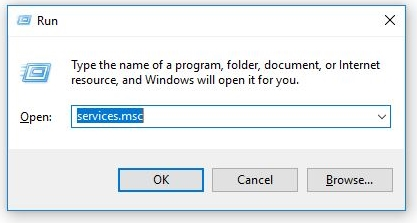Run dialog box with services.msc typed in