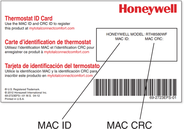 Thermostat ID Card.