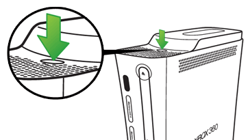 Xbox 360 console, highlighting the hard drive eject button.