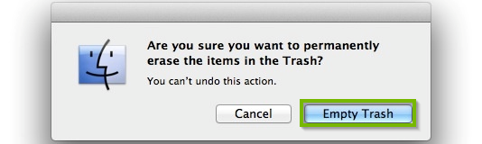 Empty trash confirmation box with Empty trash selected. Screenshot.