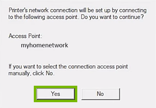 Conformation of which network to automatically connect to with Yes highlighted