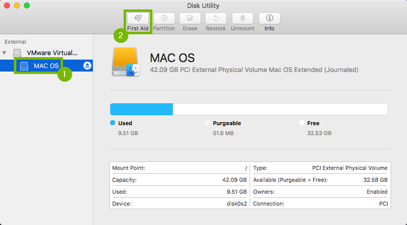 Disk utility with the hard drive selected and then the first aid button is selected