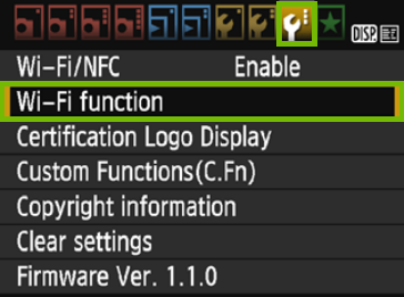 Settings 3 with Wi-Fi function highlighted