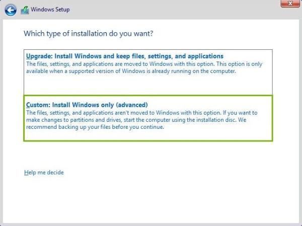 Custom Install Windows only highlighted