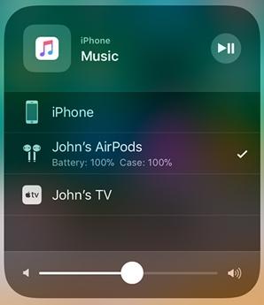 iPhone playing Music over John's AirPods. Screenshot.