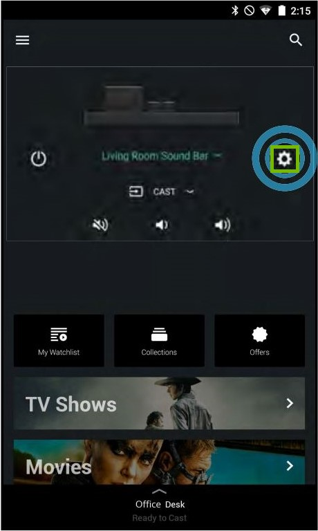 Devices page with Settings highlighted