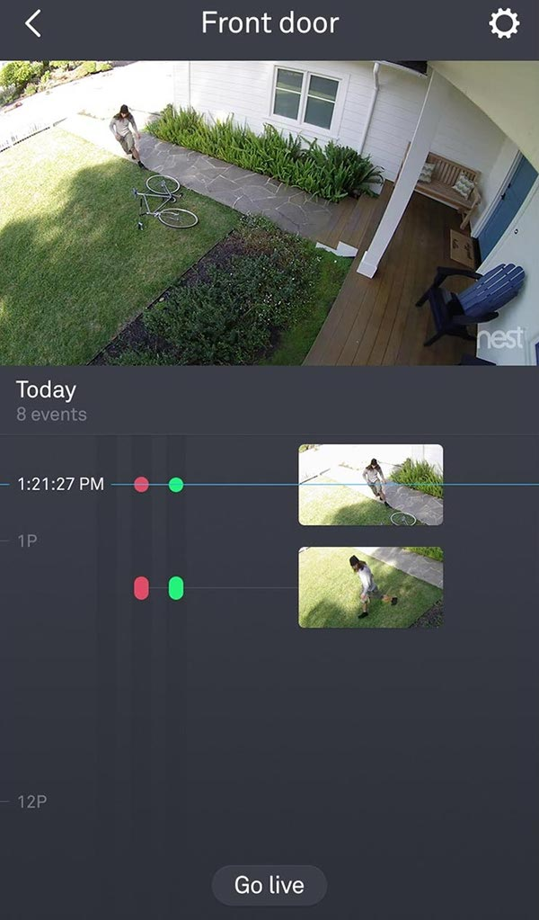 Nest camera with timeline.