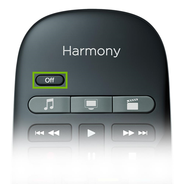 Logitech Harmony remote highlighting the off button.