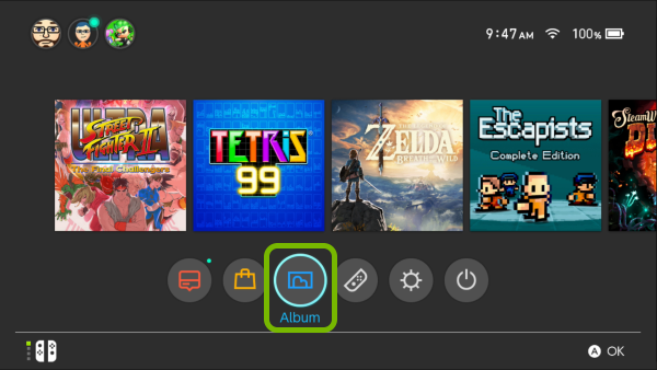 Album option highlighted in Nintendo Switch menu.