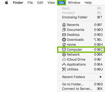Finder Go menu with Computer highlighted.