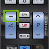 Older LG remote with Volume Up key highlighted.