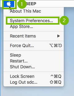 Apple menu with System Preferences highlighted. Screenshot