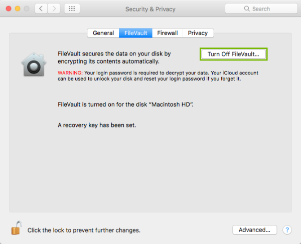 Turn Off FileVault button highlighted
