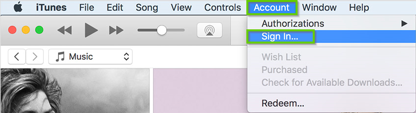 macOS version of itunes showing the sign in option