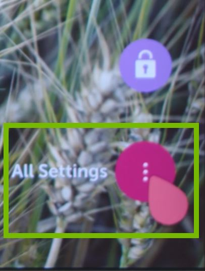 All Settings highlighted on portion of screen.