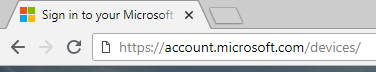 Navigating to account.microsoft.com/devices