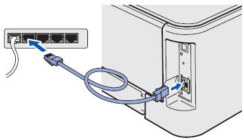 The back of a Brother printer with an ethernet cable being plugged in.