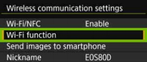 Wireless menu with Wi-Fi function highlighted