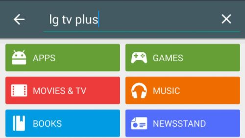 Google Play store with LG TV Plus in search bar. Screenshot.