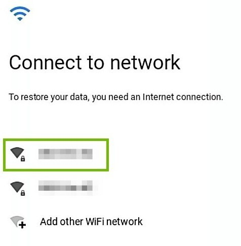 Wi-Fi selection dialog.