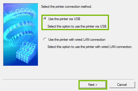 Printer connection method selection screen.