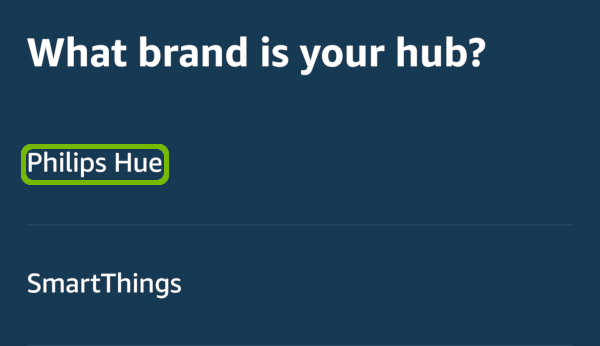 Hub Brand with Philips Hue highlighted.