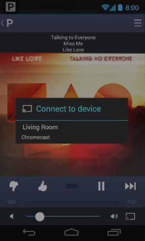 Pandora app cast screen displaying a list of available devices to cast to.