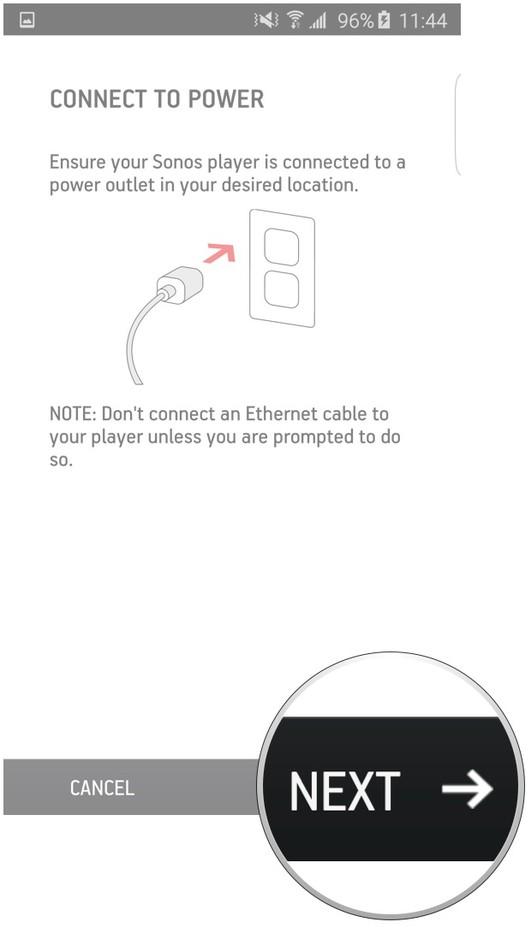 Sonos app add a device screen highlighting the next button.