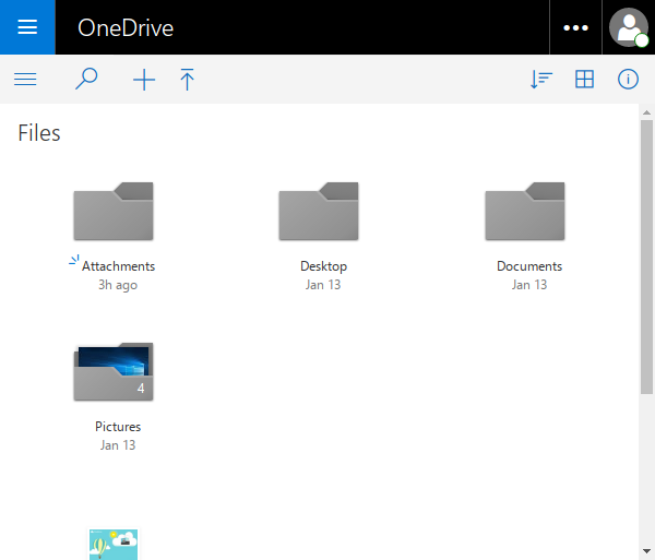 Files view in OneDrive.