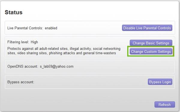 Change custom settings
